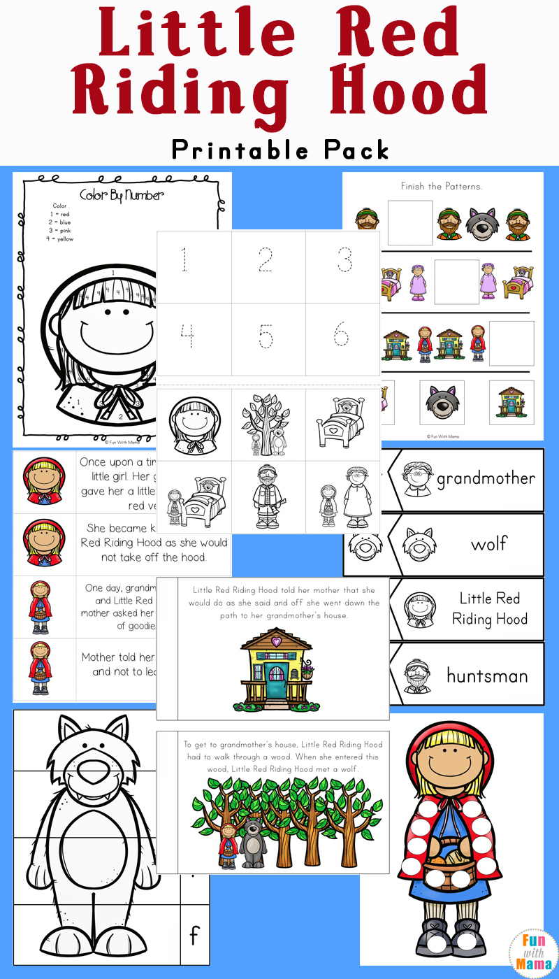Little Red Riding Hood Printables And Activities Pack - Fun With Mama | Little Red Riding Hood Worksheets Printable