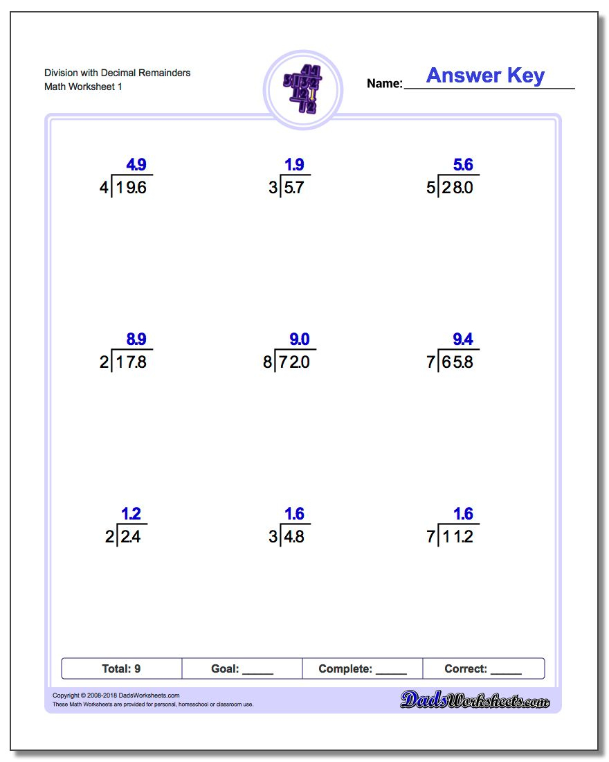 Long Division Worksheets | Printable Long Division Worksheets