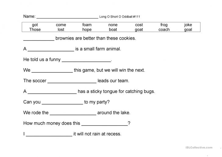 Short O Worksheets Printable