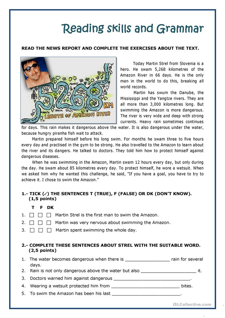 Martin Strel Swam The Amazon River Worksheet - Free Esl Printable | River Worksheets Printables