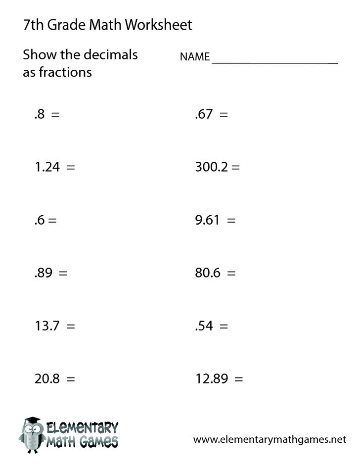 7Th Grade Math Worksheets Printable Pdf