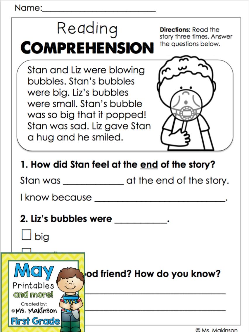 May Printables - First Grade Literacy And Math | Reading | Reading | 1St Grade Reading Comprehension Worksheets Printable