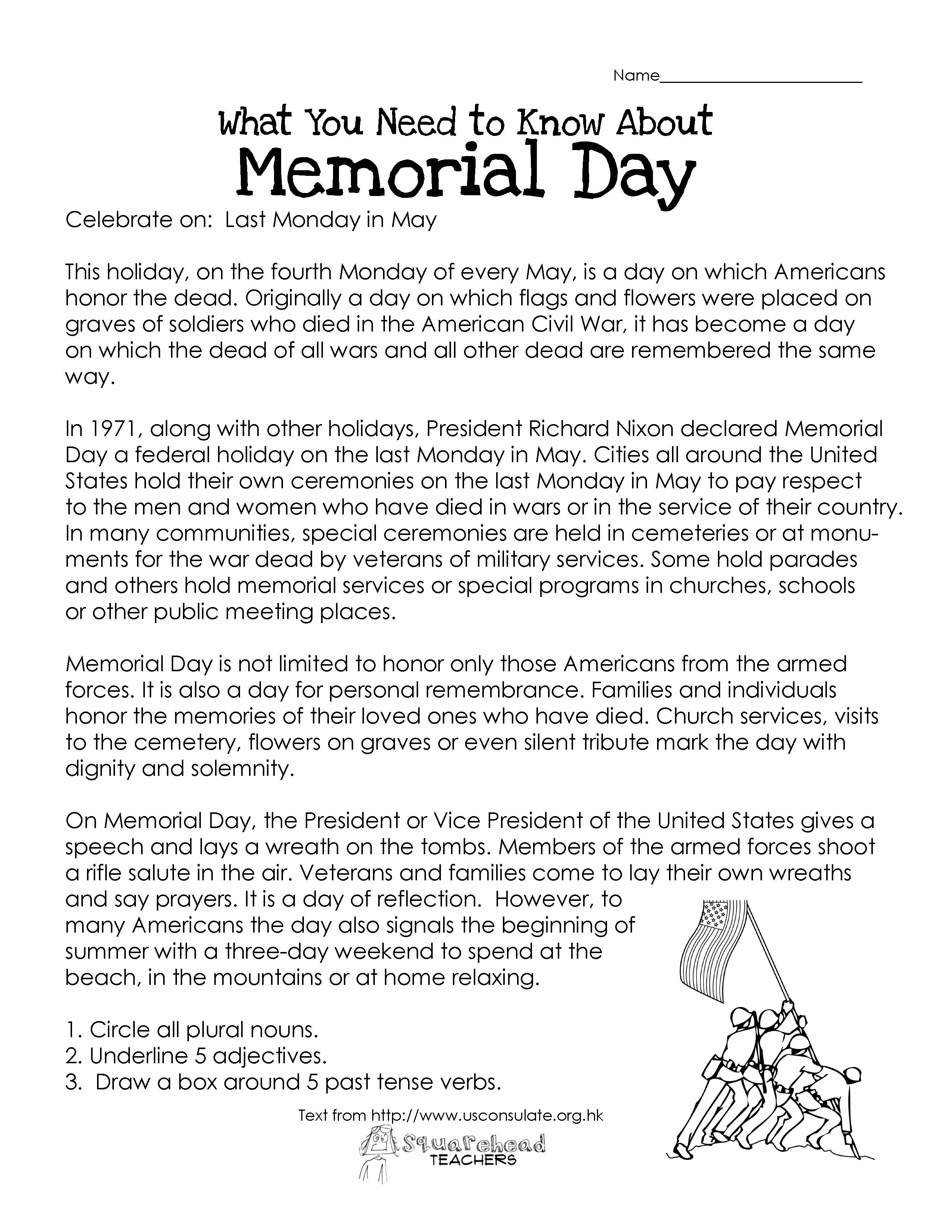Memorial Day (Free Worksheet) | Squarehead Teachers | Free Printable Labor Day Worksheets