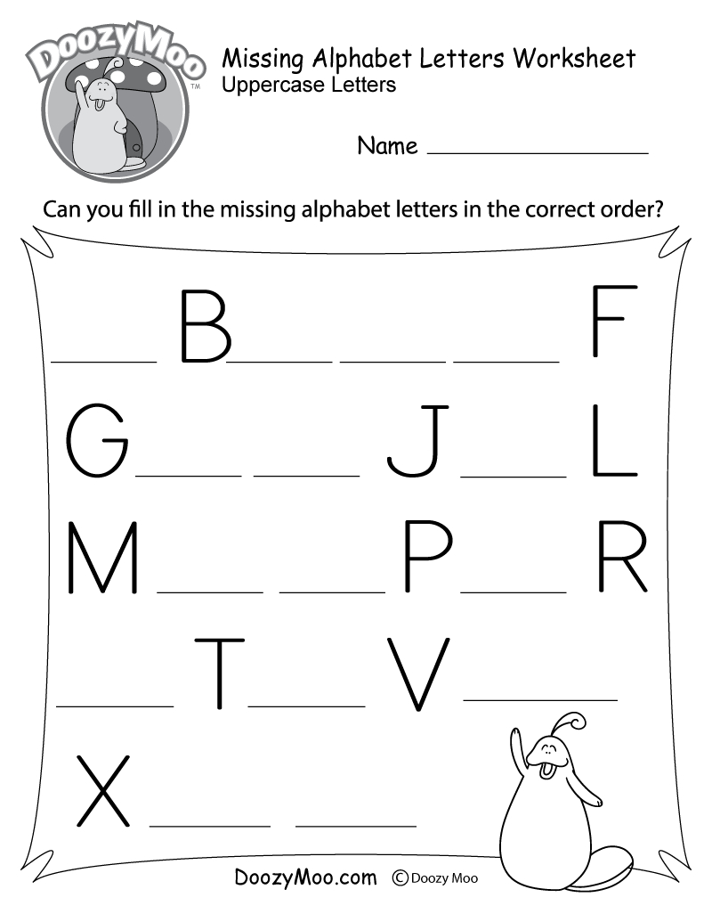 Missing Alphabet Letters Worksheet (Free Printable) - Doozy Moo   Printable Alphabet Worksheets