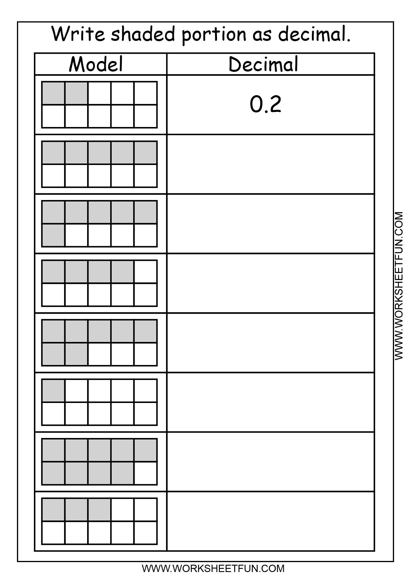 Model Decimal | Printable Worksheets | Math, Teaching Math, Math | Fractions To Decimal Worksheets Printable