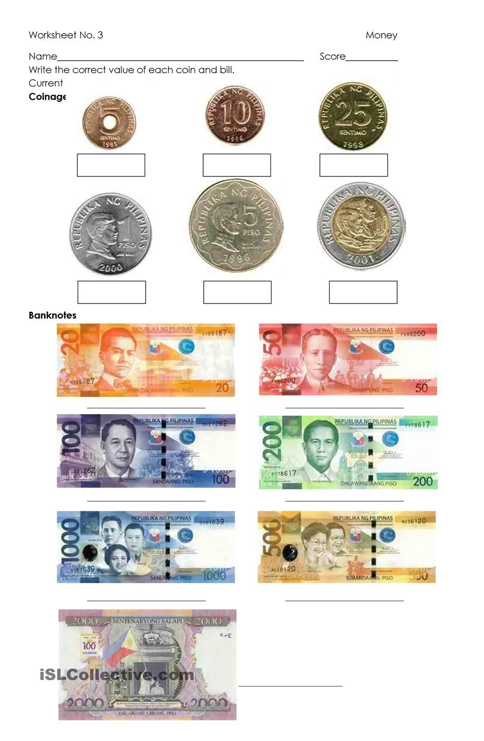 Money - Philippine Coins And Bills | Class Ideas | Money Worksheets | Printable Paper Money Worksheets