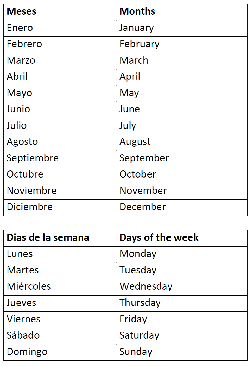 Months Of The Year And Days Of The Week | Tutoring- Spanish | Free Printable Spanish Worksheets Days Of The Week