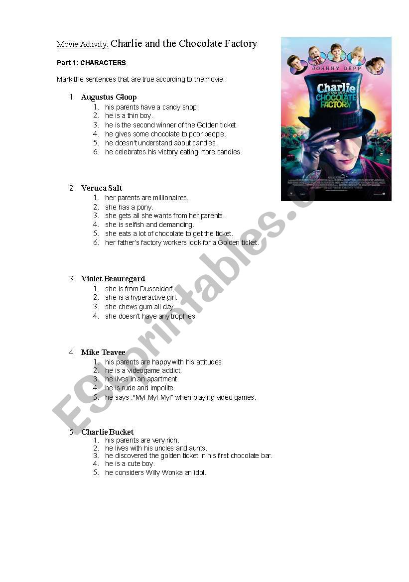 Movie Activity: Charlie And The Chocolate Factory - Esl Worksheet | Charlie And The Chocolate Factory Worksheets Printable