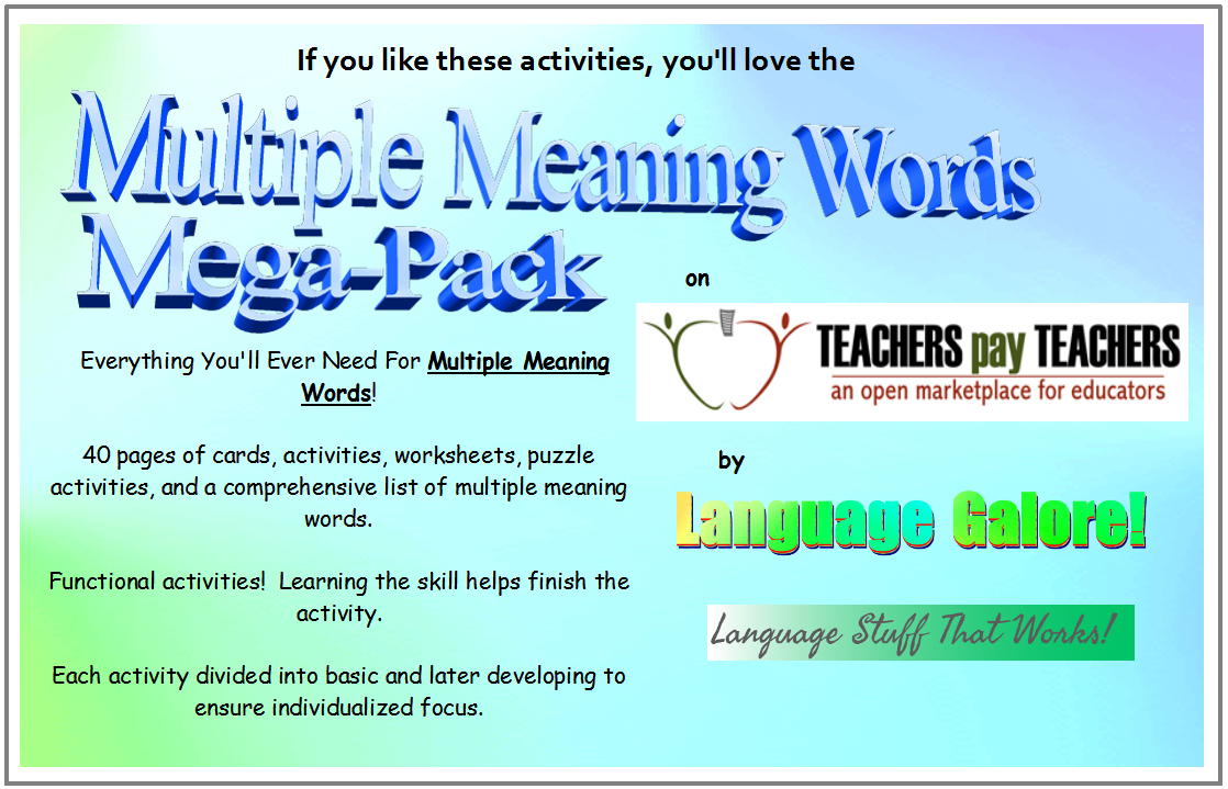 Multiple Meaning Words – Activities, Worksheets, Word Lists, And | Free Printable Multiple Meaning Words Worksheets