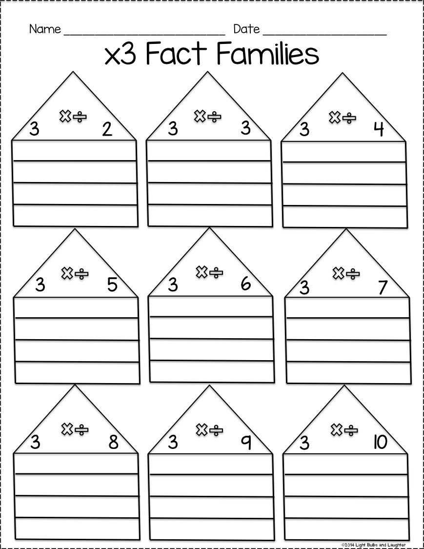 Multiplication & Division Fact Family Practice Pack | חשבון | Fact | Free Printable Multiplication Division Fact Family Worksheets
