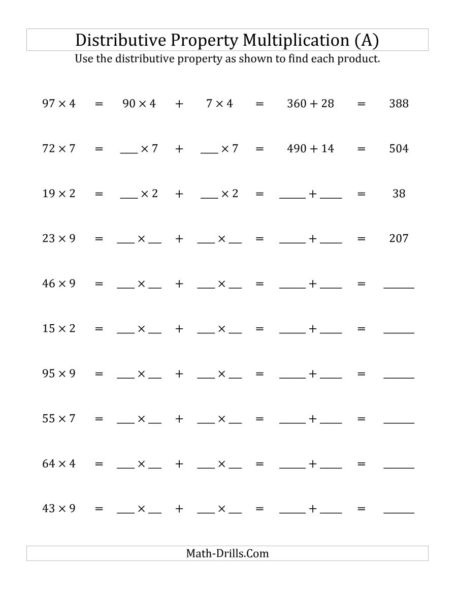 Multiply 2-Digit1-Digit Numbers Using The Distributive Property (A) | Free Printable Distributive Property Worksheets