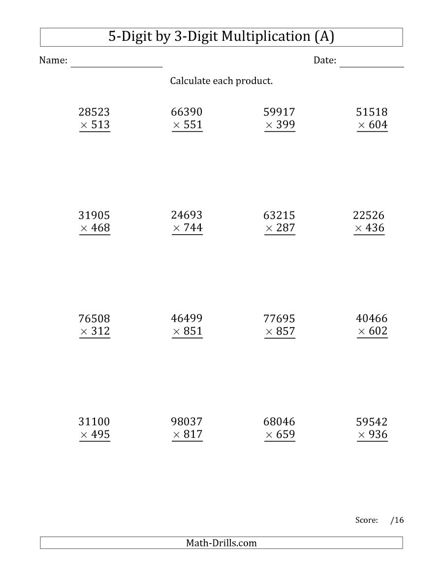 Multiplying 5-Digit3-Digit Numbers (A) | 3 Digit Multiplication Worksheets Printable