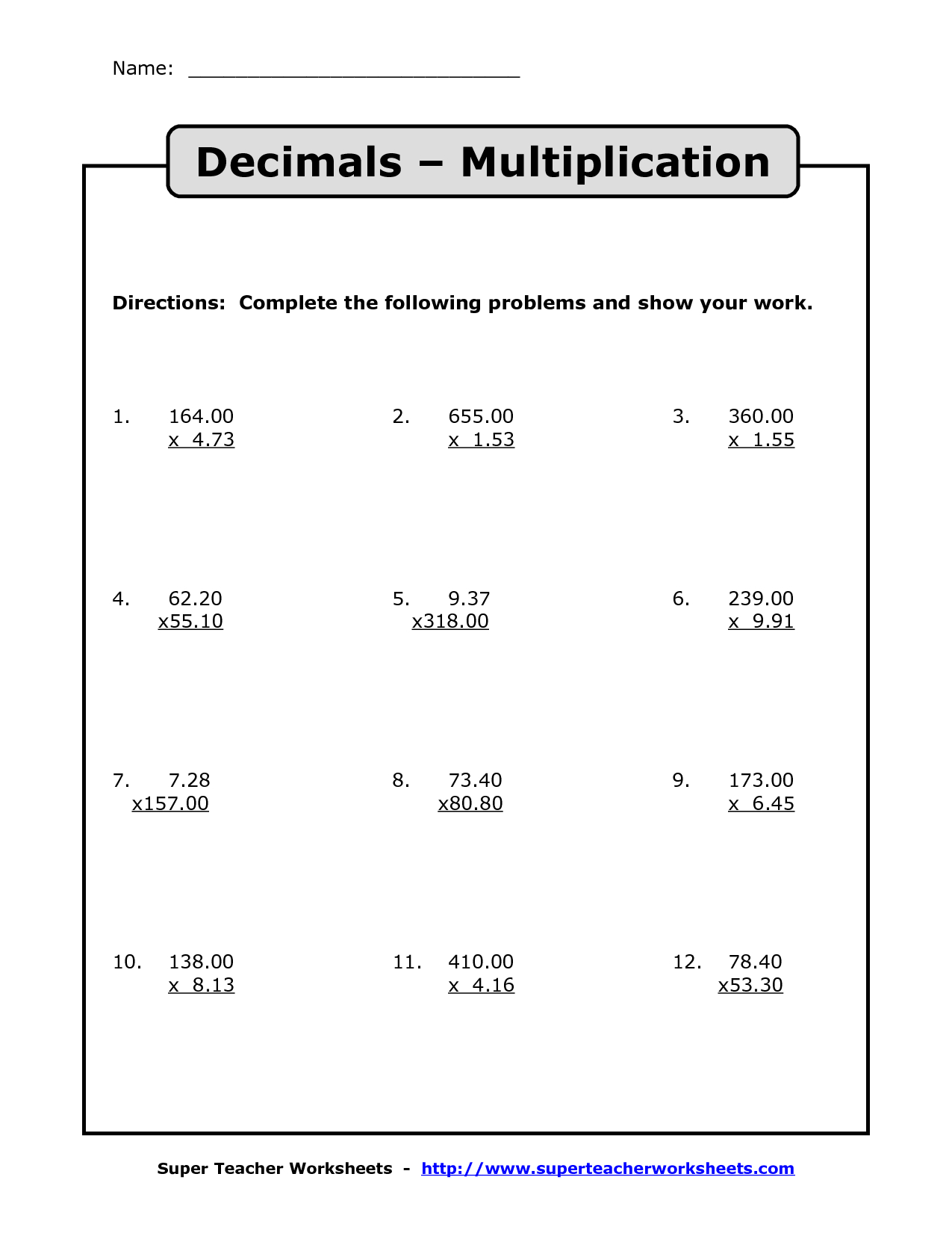 Multiplying Decimals | Multiplication With Decimals Worksheets | Free Printable Decimal Multiplication Worksheets