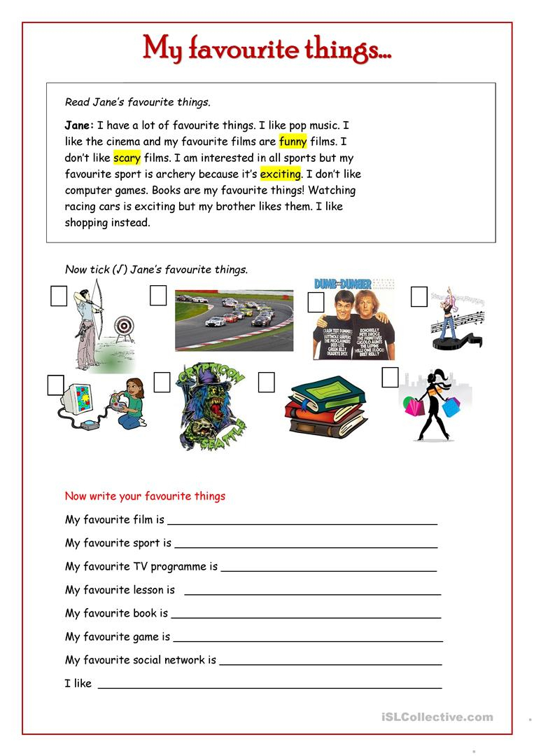 My Favourite Things . Worksheet - Free Esl Printable Worksheets | Archery Printable Worksheets