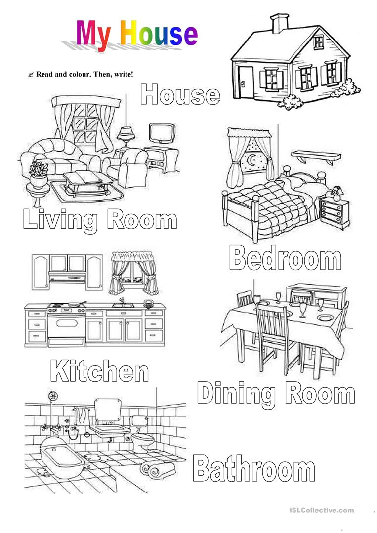 My House Worksheet - Free Esl Printable Worksheets Madeteachers | Home Worksheets Printables