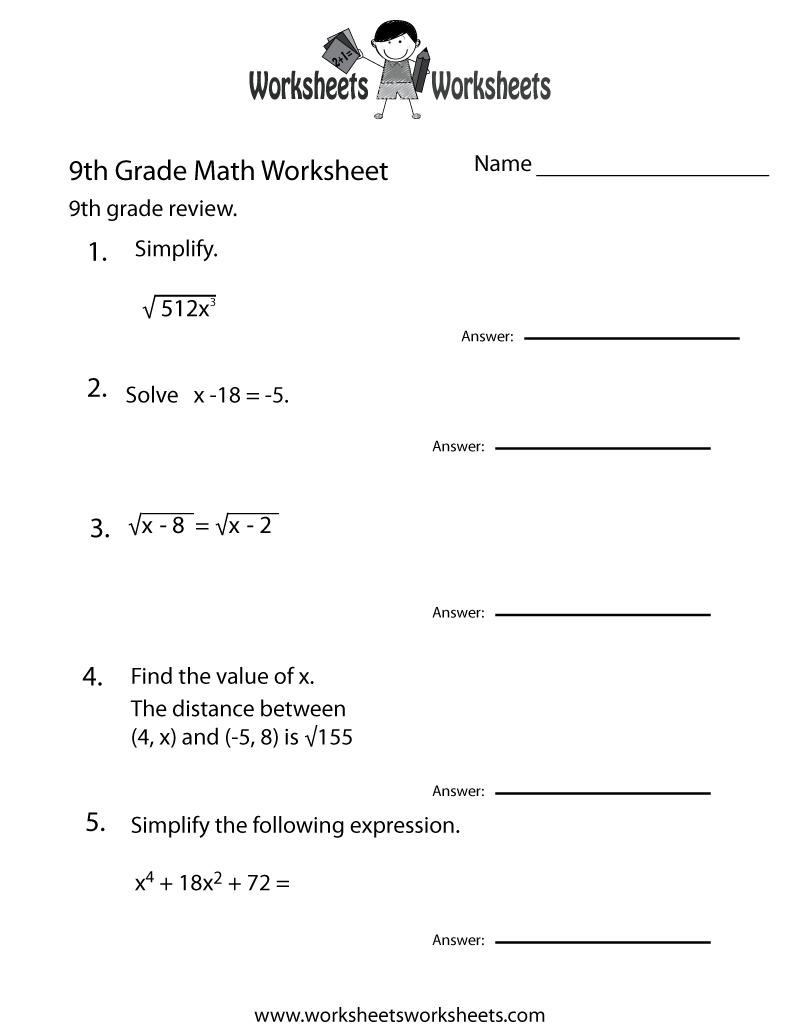 Ninth Grade Math Practice Worksheet Printable   Teaching   Math   9Th Grade Printable Worksheets Free