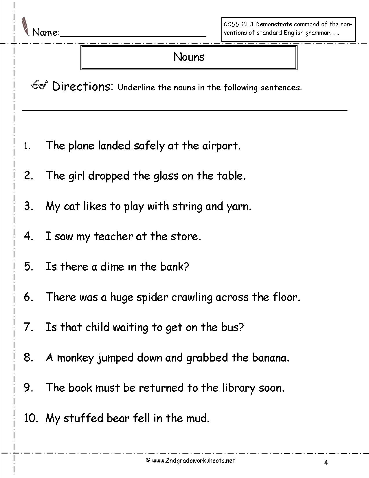 Nouns Worksheets And Printouts - Free Printable Pronoun Worksheets | Free Printable Pronoun Worksheets For 2Nd Grade