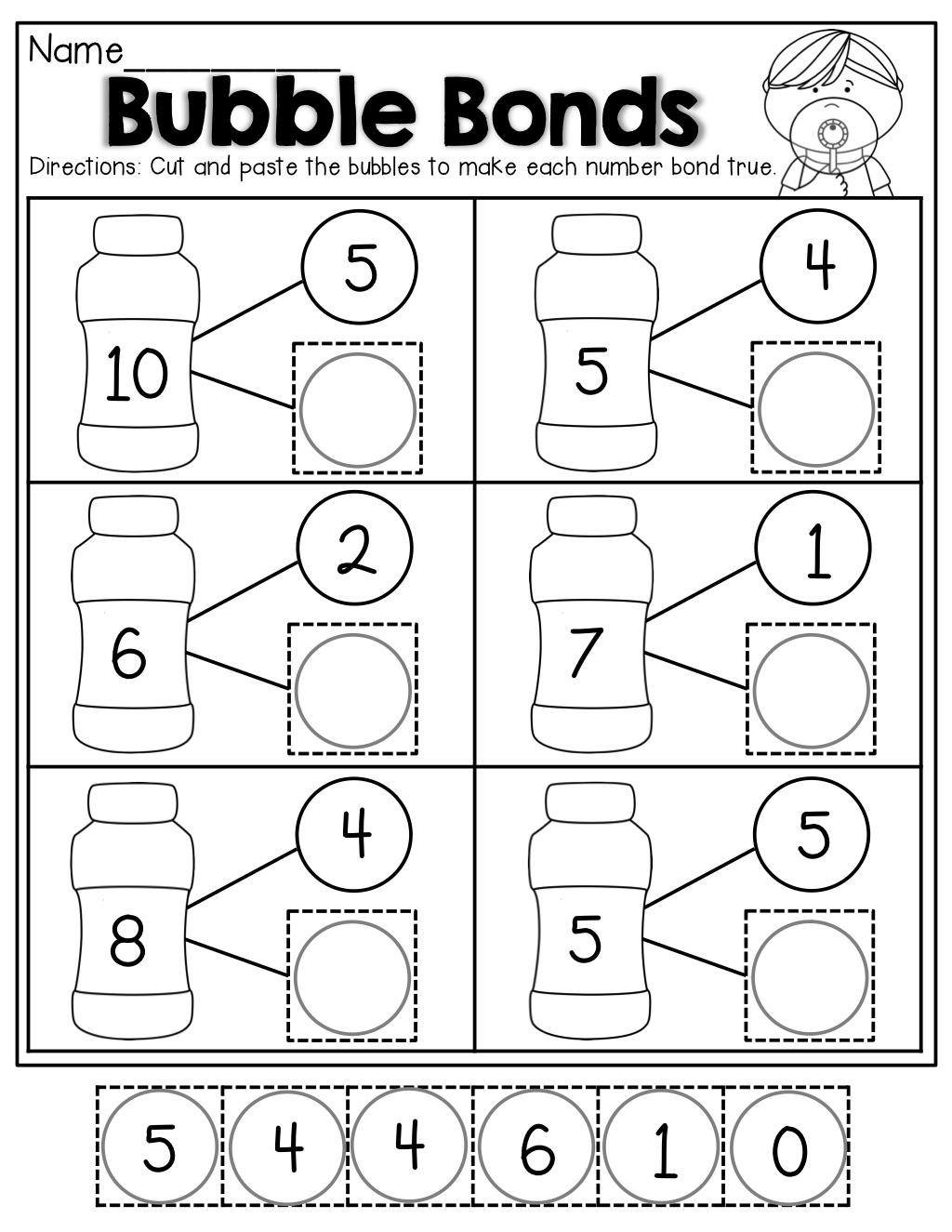 Number Bubble Bonds (Cut And Paste) | Kindergarten Activities | Math | Free Printable Number Bonds Worksheets For Kindergarten