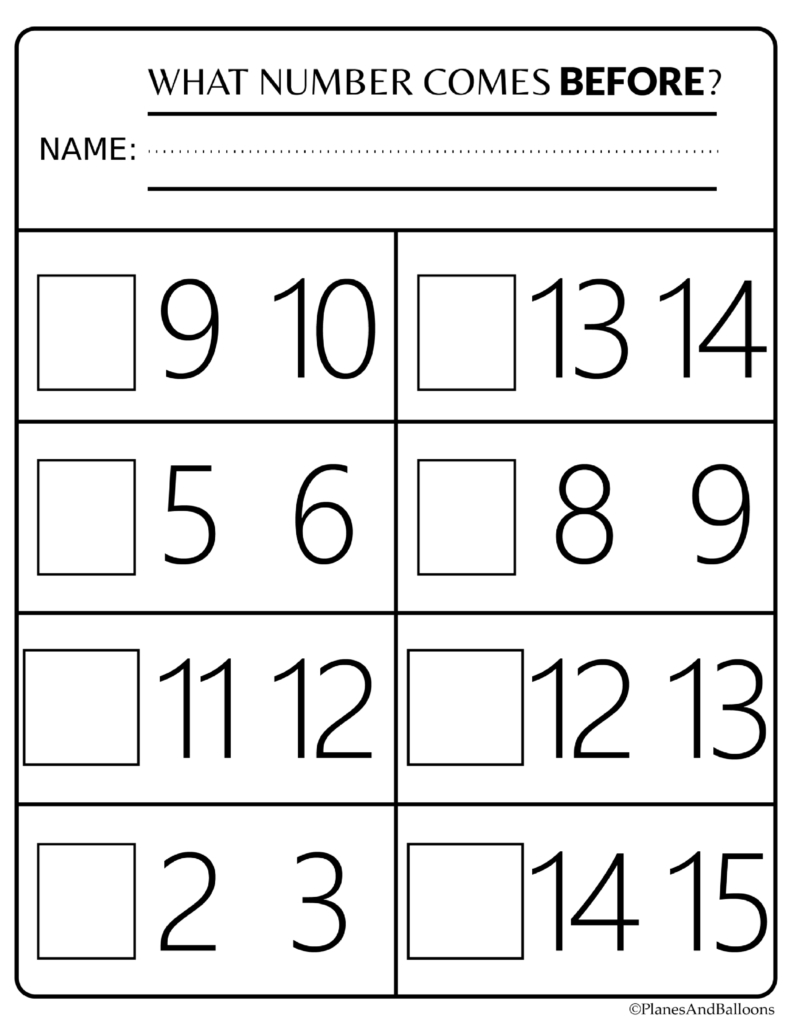 Number Order Kindergarten Free Printable Worksheets: Numbers 1-20 | Frame Games Printable Worksheets