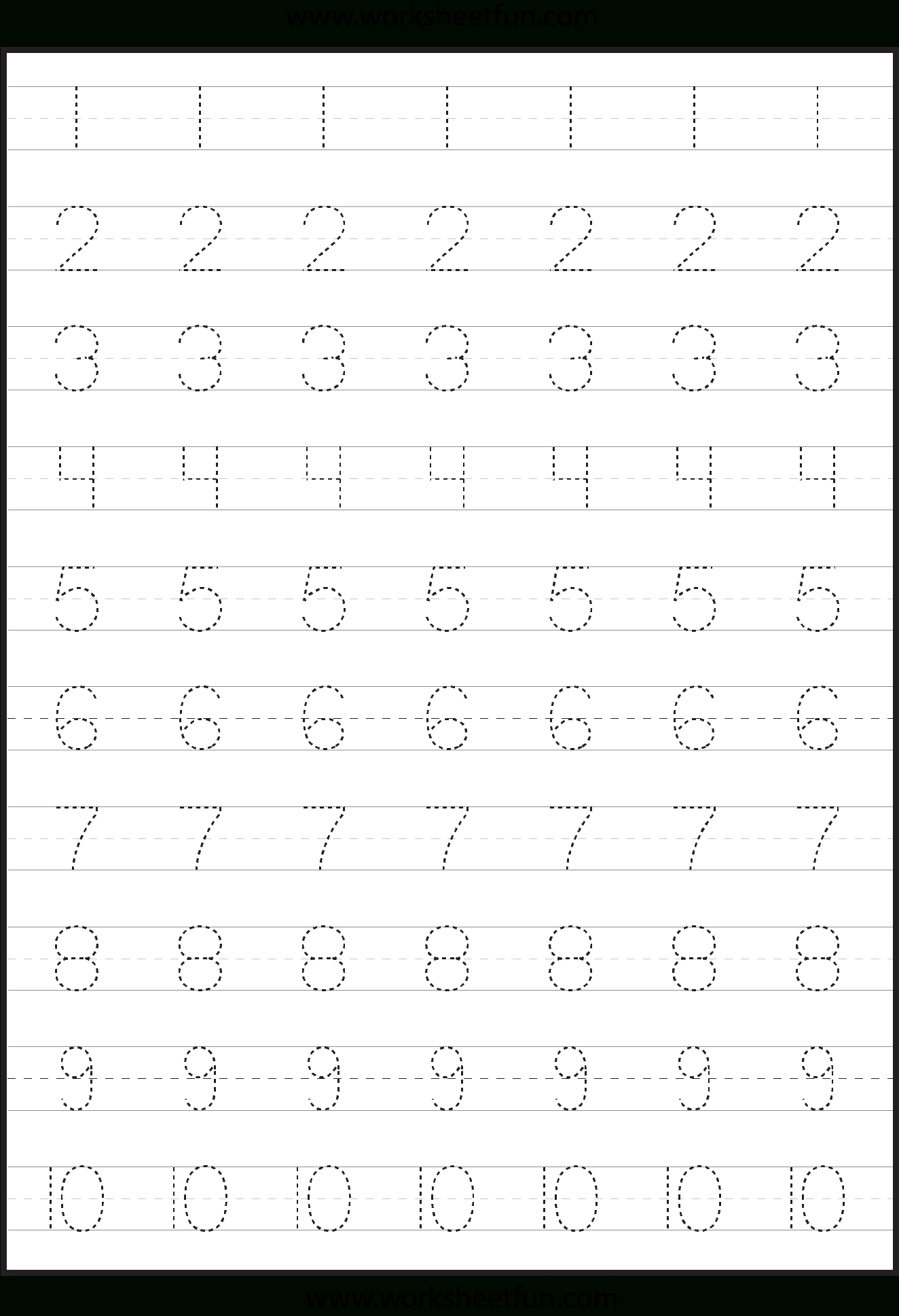 Number Tracing Worksheets For Kindergarten- 1-10 – Ten Worksheets | Printable Worksheets For Preschoolers On Numbers 1 10