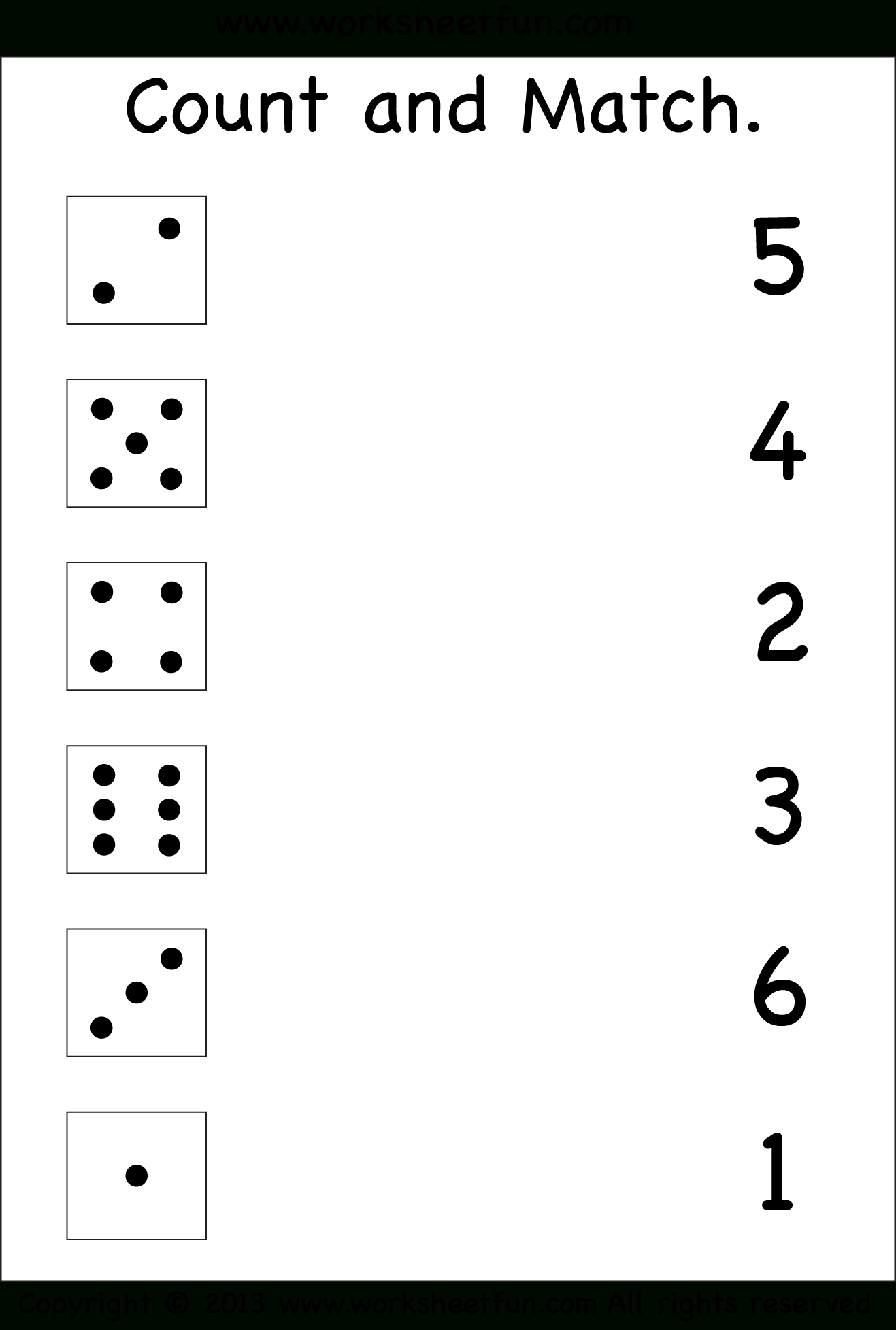 Numbers – Count And Match / Free Printable Worksheets – Worksheetfun | Numbers Printable Worksheets