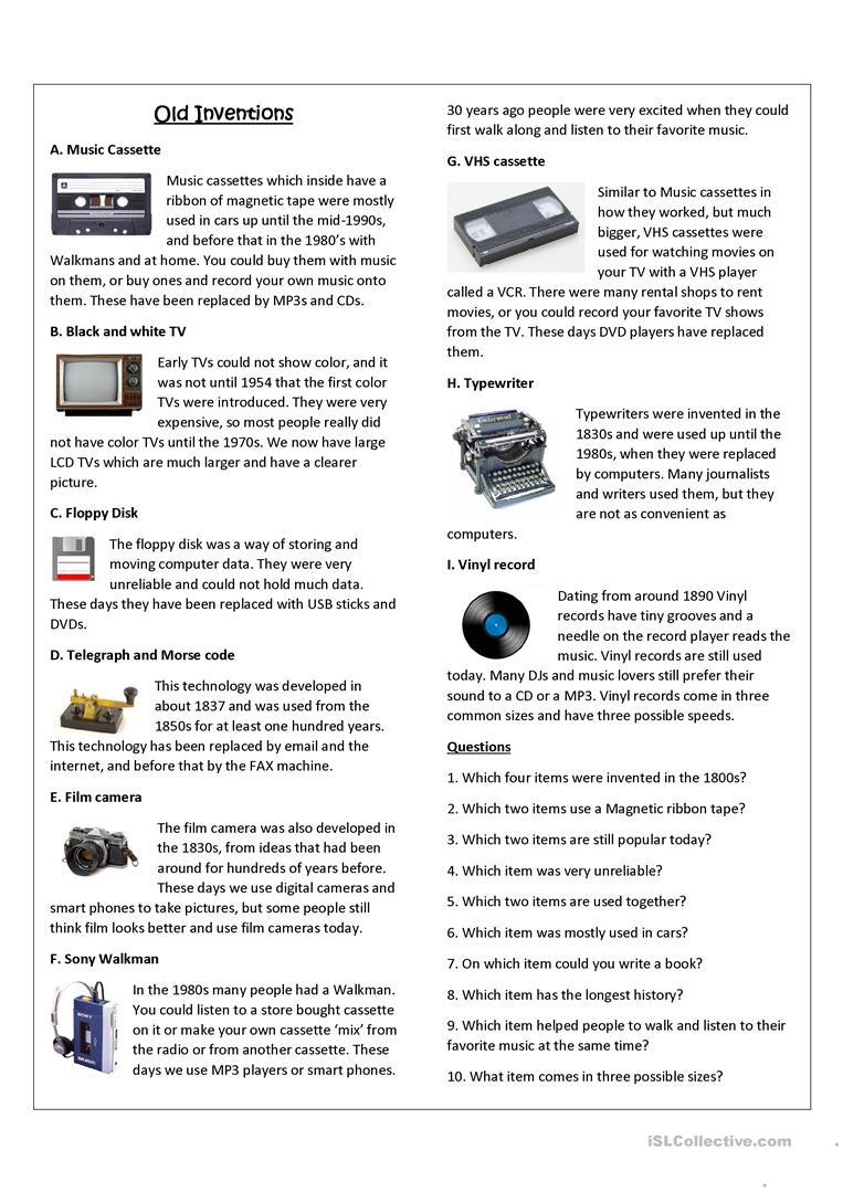 Old Inventions Worksheet - Free Esl Printable Worksheets Made | Inventions Printable Worksheets