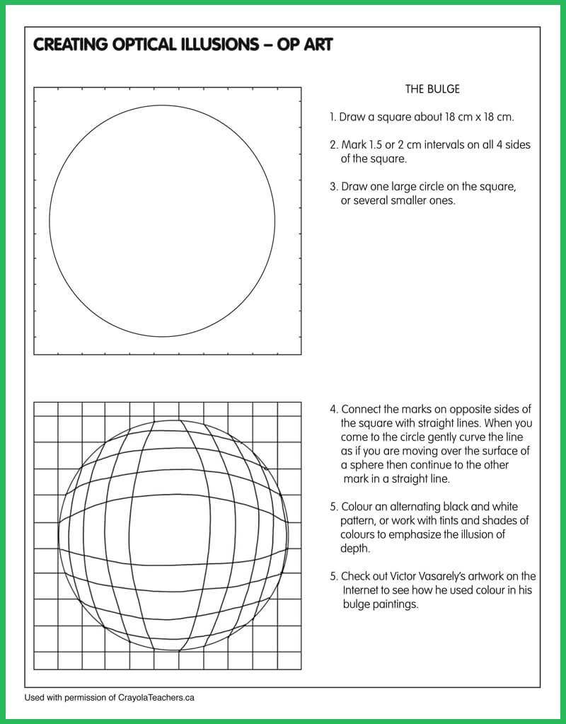 Optical Illusion-Bulge | Class | Art Worksheets, Art, Illusion Art | Optical Illusion Worksheets Printable