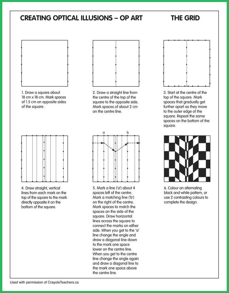 Optical Illusions Grid | Seton Hall In 2019 | Art Worksheets, Op Art | Optical Illusion Worksheets Printable