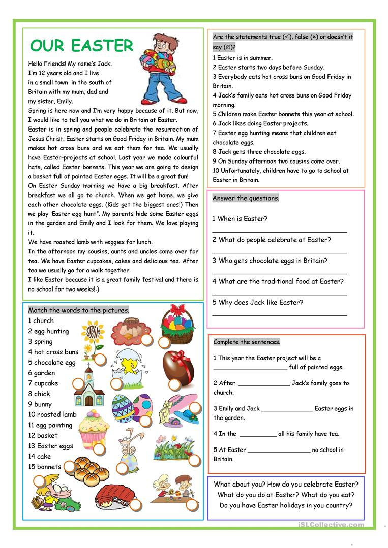 Our Easter Worksheet - Free Esl Printable Worksheets Madeteachers | Free Printable Easter Reading Comprehension Worksheets