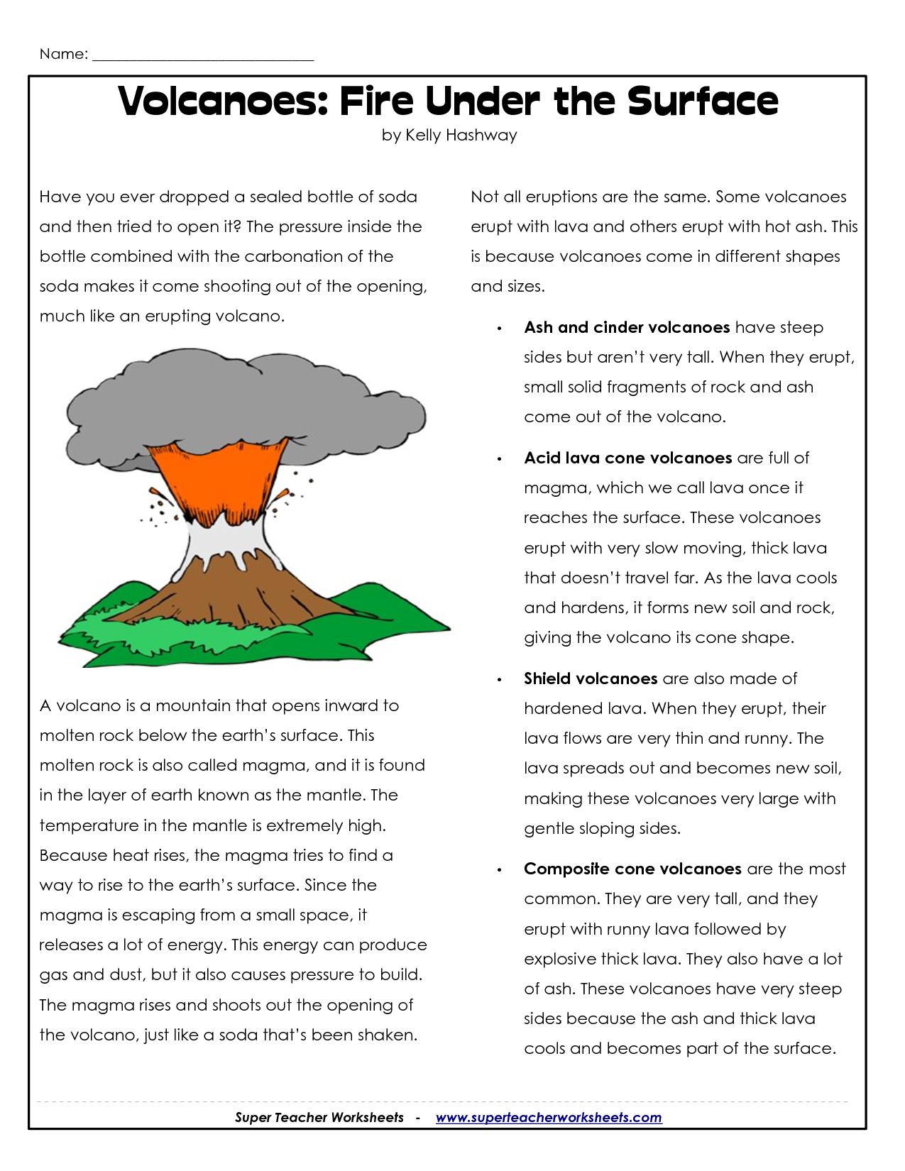 Parts Of A Volcano Printable   Volcano Worksheets   Science Lessons   Printable Volcano Worksheets
