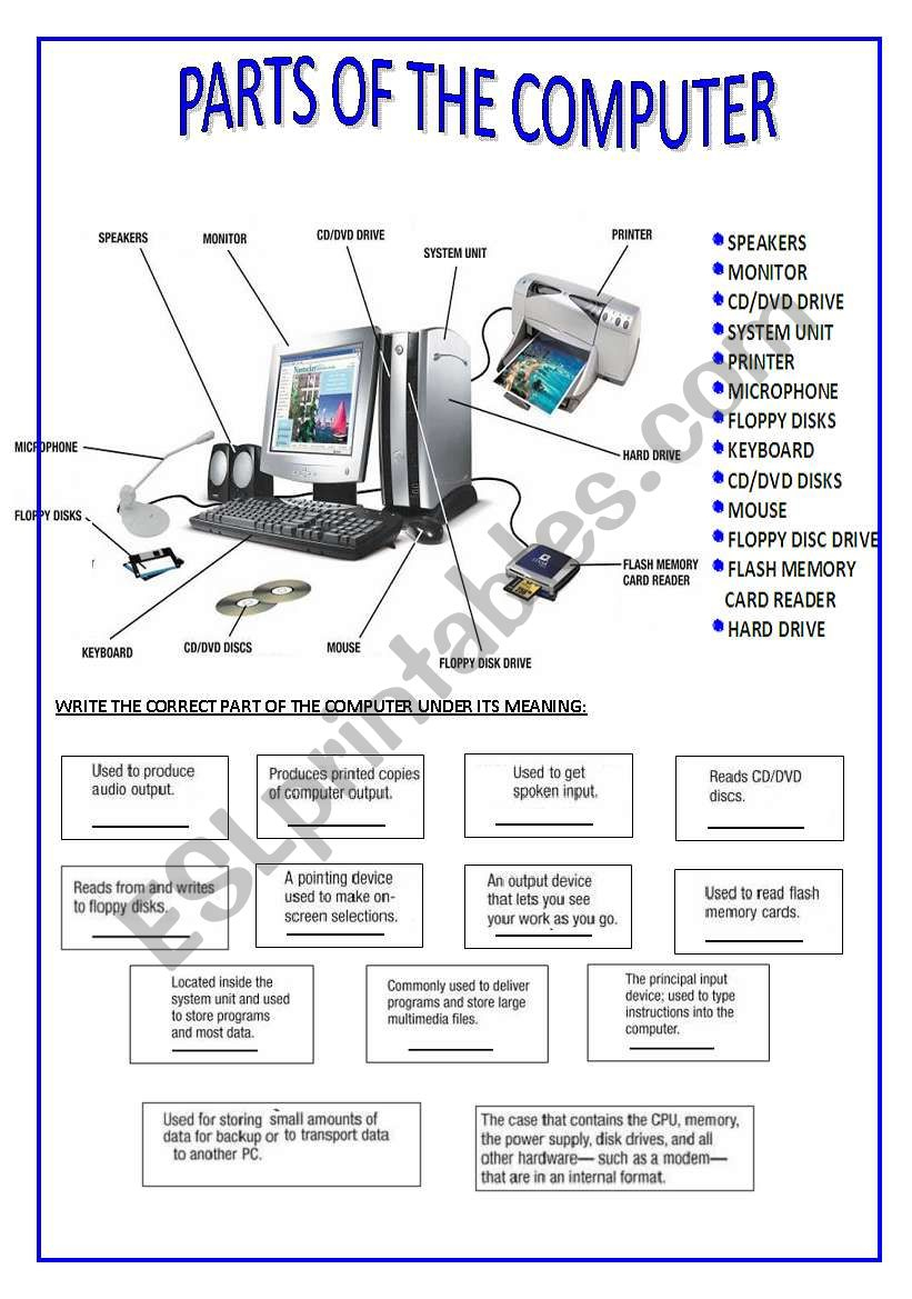 Parts Of The Computer - Esl Worksheetsilvina Joaquina | Parts Of A Computer Worksheet Printable