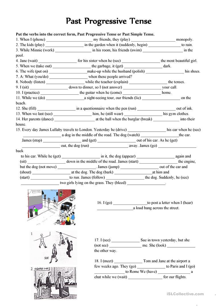 Past Continuous Vs. Past Simple Tense Worksheet - Free Esl Printable | Past Progressive Tense Worksheets Printable