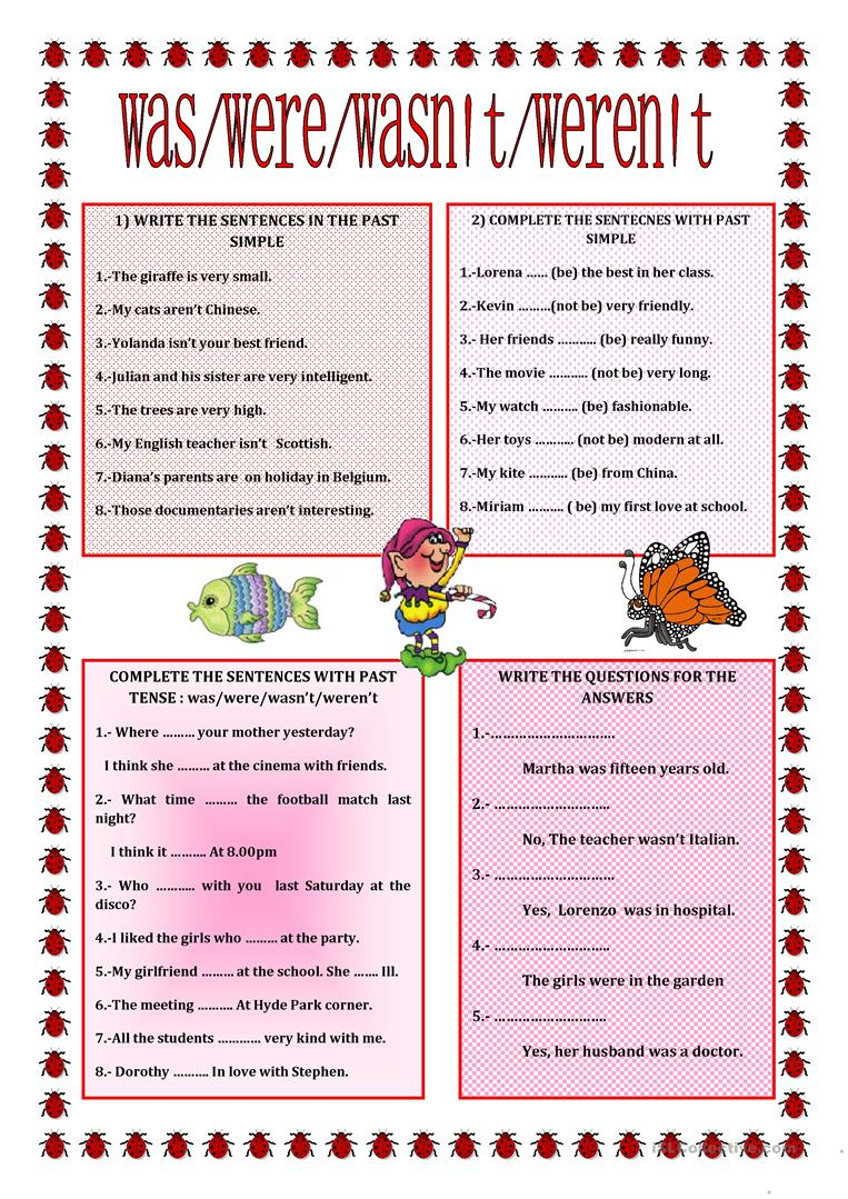 Past Simple Verb To Be Worksheet - Free Esl Printable Worksheets | To Be Worksheets Printable