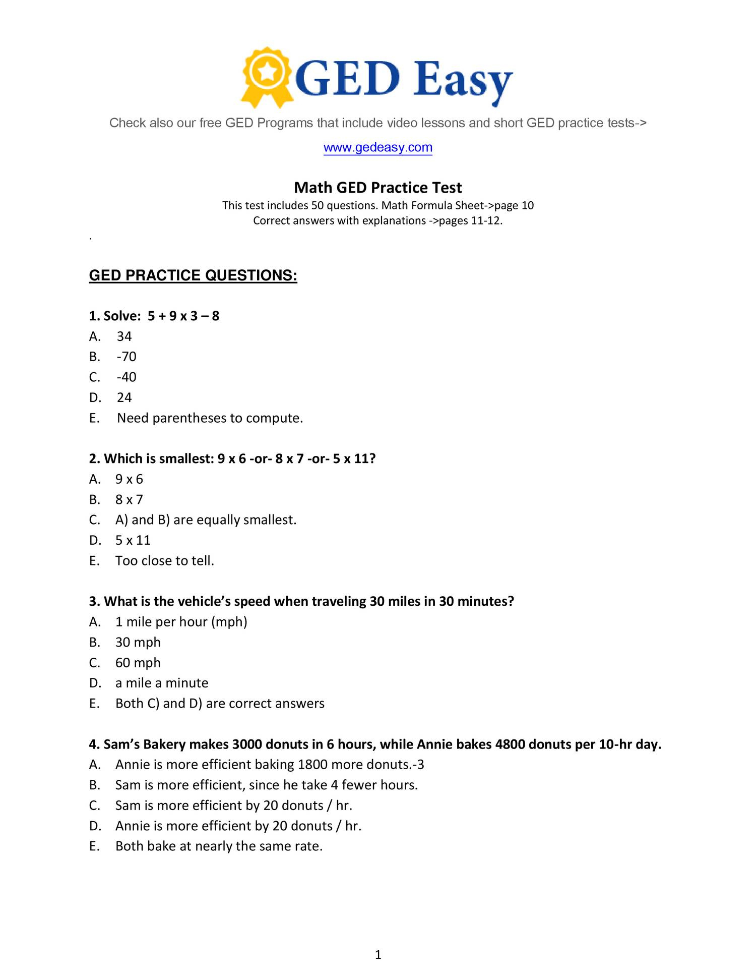 Pdf Printable Ged Practice Book | Wiring Library | Printable Ged Practice Worksheets
