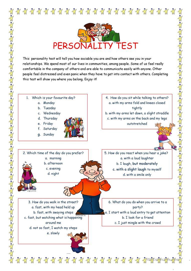 Personality Test I. Worksheet - Free Esl Printable Worksheets Made   Personality Quiz Printable Worksheet