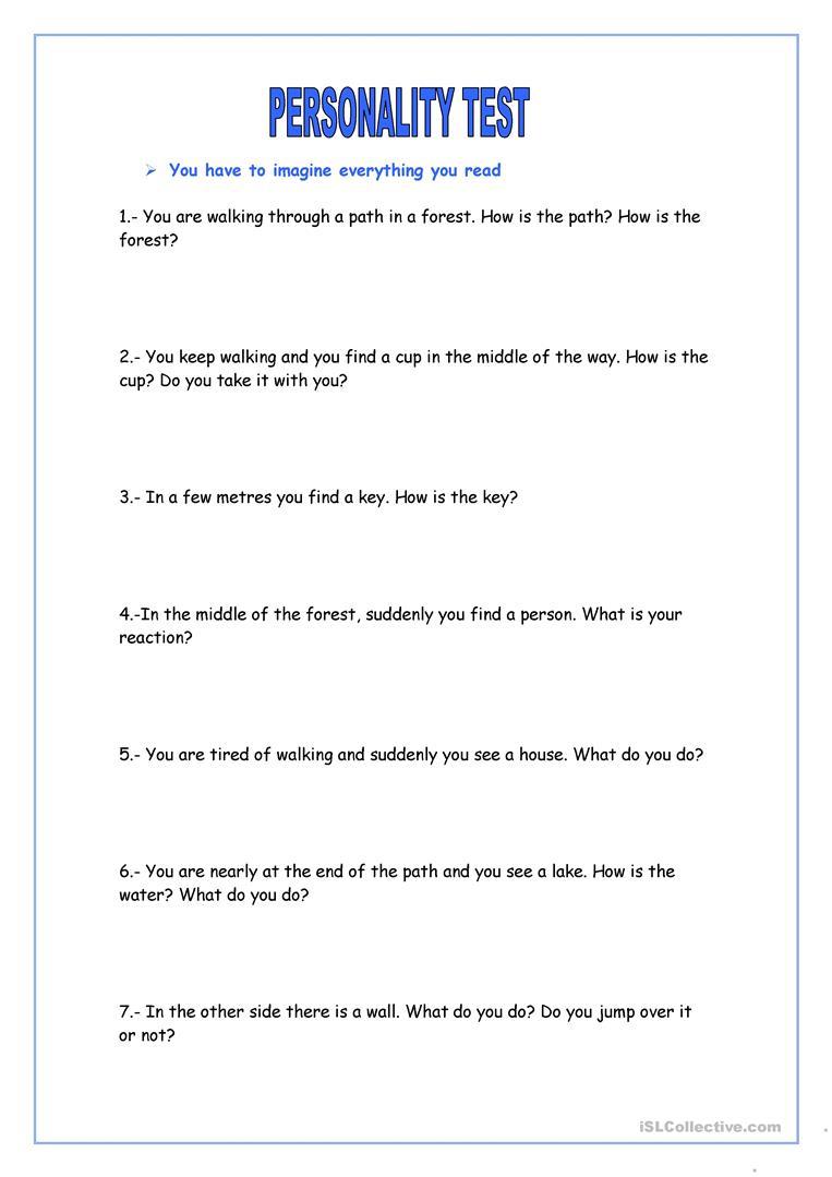 Personality Test Worksheet - Free Esl Printable Worksheets Made   Personality Quiz Printable Worksheet