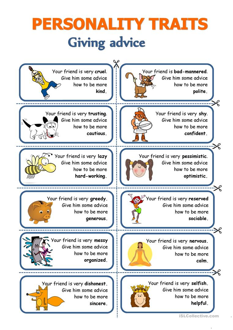 Personality Traits - Giving Advice Worksheet - Free Esl Printable | Giving Advice Printable Worksheets