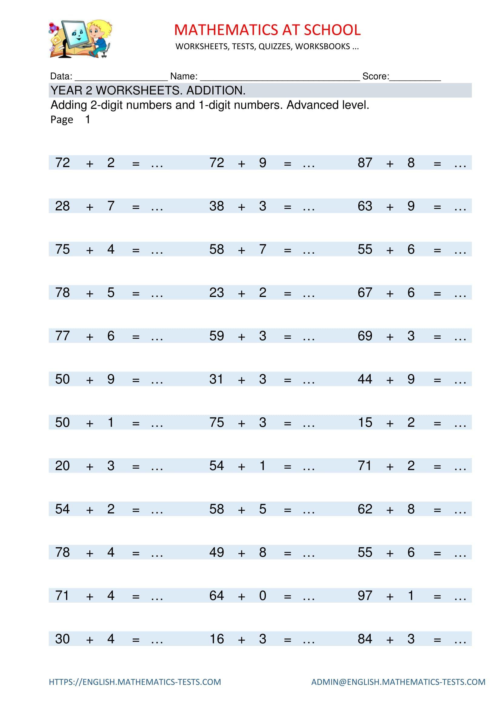 Pinenglish Maths On Year 2 Maths Worksheets And Free Printable | Free Printable English Worksheets For 3Rd Grade