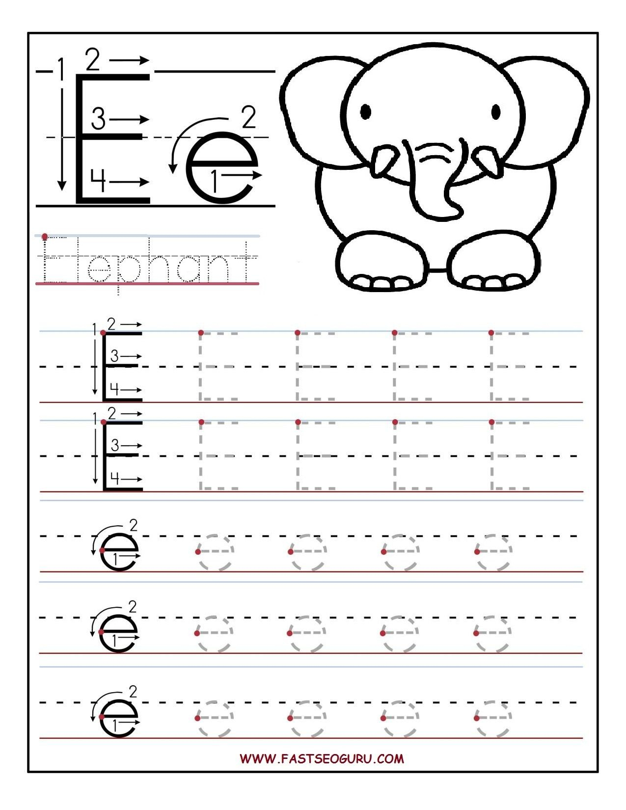 Pinvilfran Gason On Decor | Letter E Worksheets, Letter Tracing | Letter E Printable Worksheets