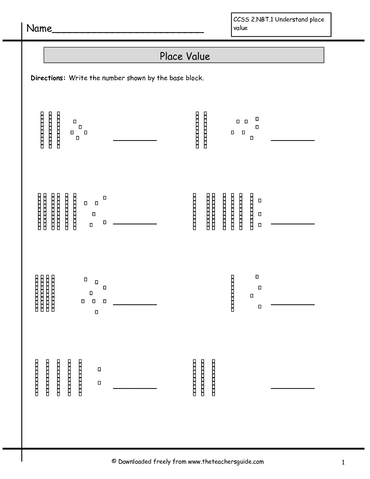 Place Value Worksheets From The Teacher's Guide - Free Printable | Free Printable Base Ten Block Worksheets