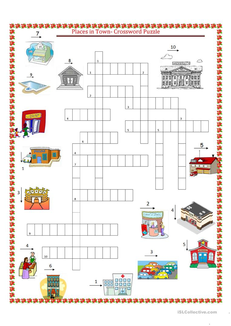 Places In Town Crossword Puzzle Worksheet - Free Esl Printable | Places In Town Worksheets Printables