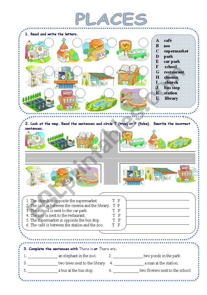 Places In Town - Esl Worksheetsilvanija | Places In Town Worksheets Printables