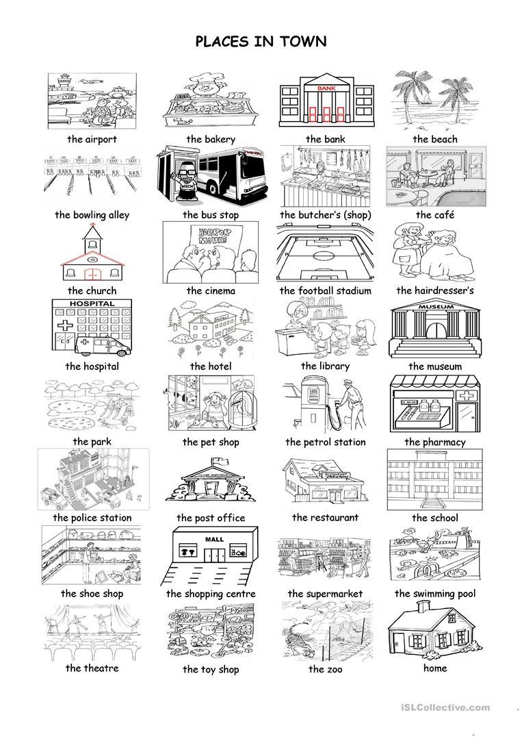 Places In Town Worksheet - Free Esl Printable Worksheets Made | Places In Town Worksheets Printables