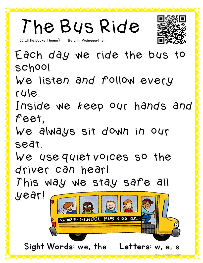 Poetry Kindergarten Shared Reading Free | Work Stations | School Bus | Free Printable School Bus Safety Worksheets
