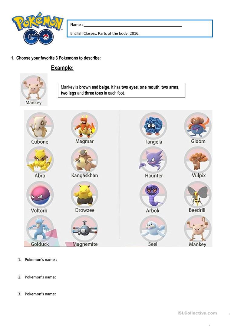 Pokémon Parts Of The Body Worksheet - Free Esl Printable Worksheets | Pokemon Worksheets Printable