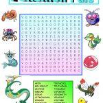 Pokemon Wordsearch With Key Worksheet   Free Esl Printable | Pokemon Worksheets Printable
