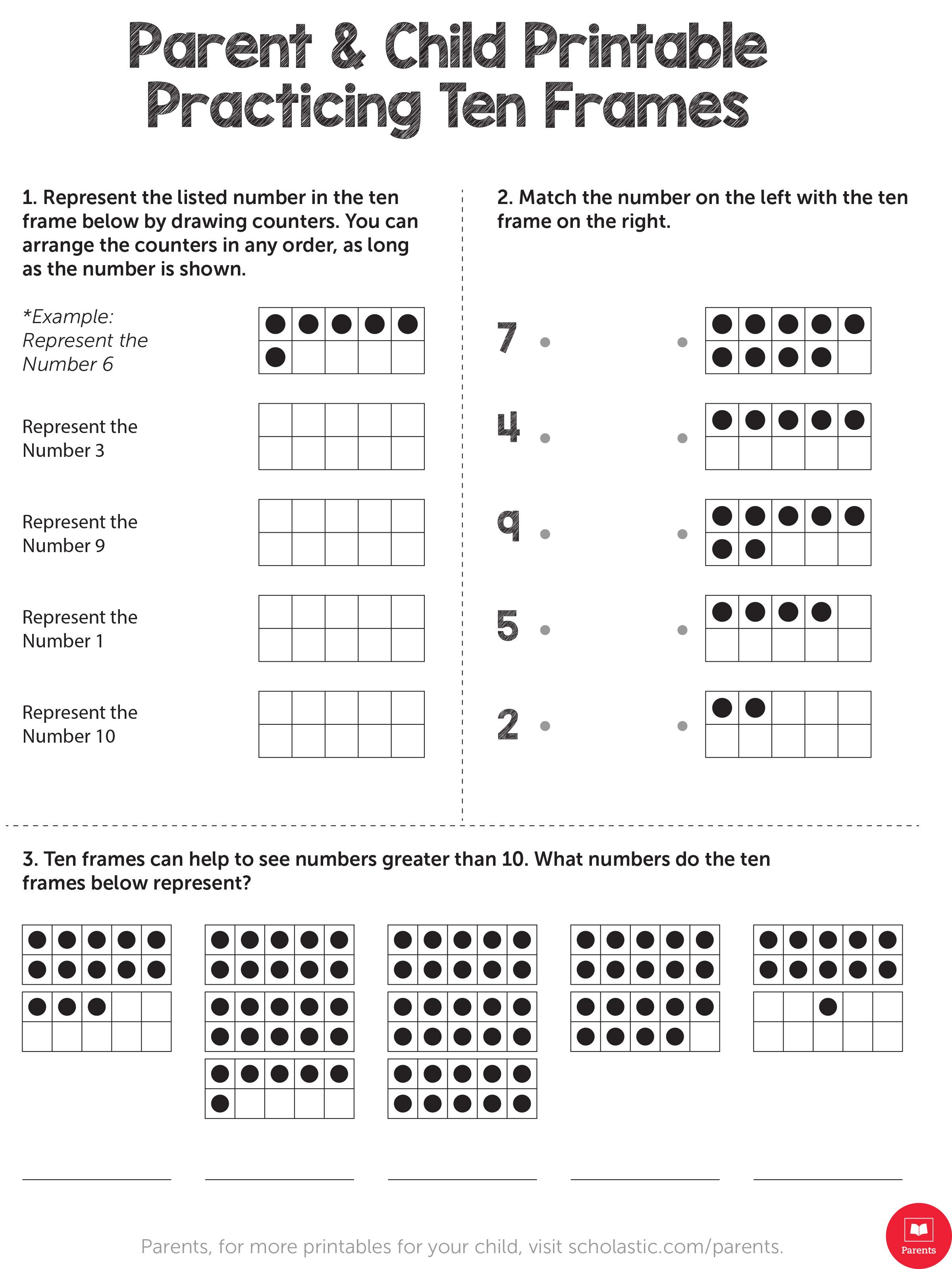 Practicing Ten Frames | Worksheets & Printables | Scholastic | Parents | Ten Frame Printable Worksheets