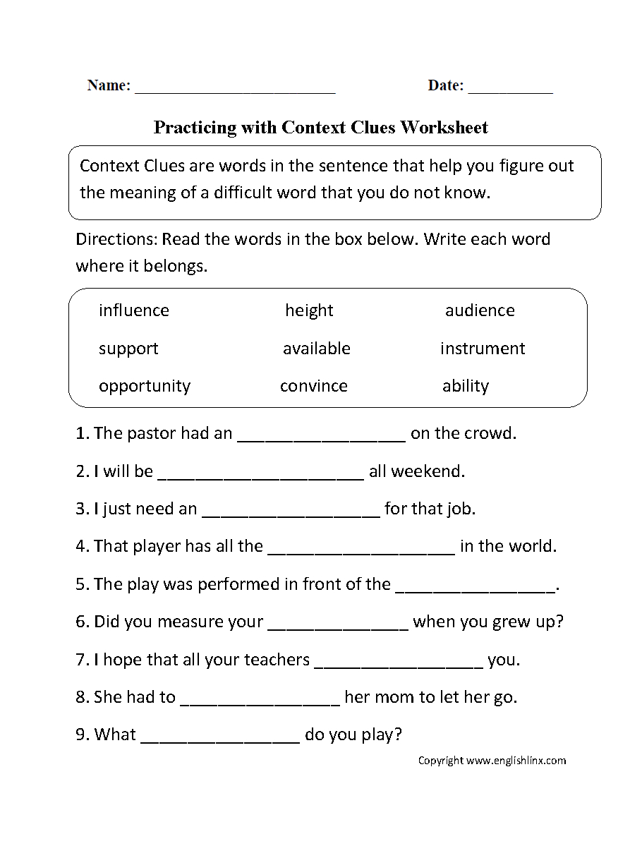 Practicing With Context Clues Worksheet | Homeschooling: Reading | Context Clues Printable Worksheets 6Th Grade