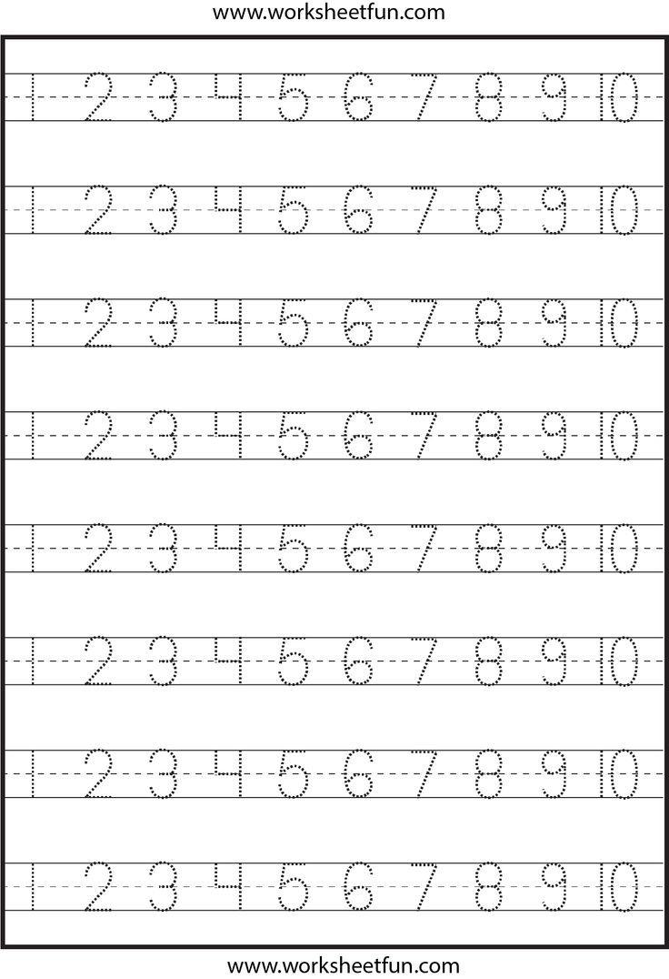 Pre K Number Writing Worksheets - Number Tracing – 4 Worksheets Free | Pre K Printable Worksheets