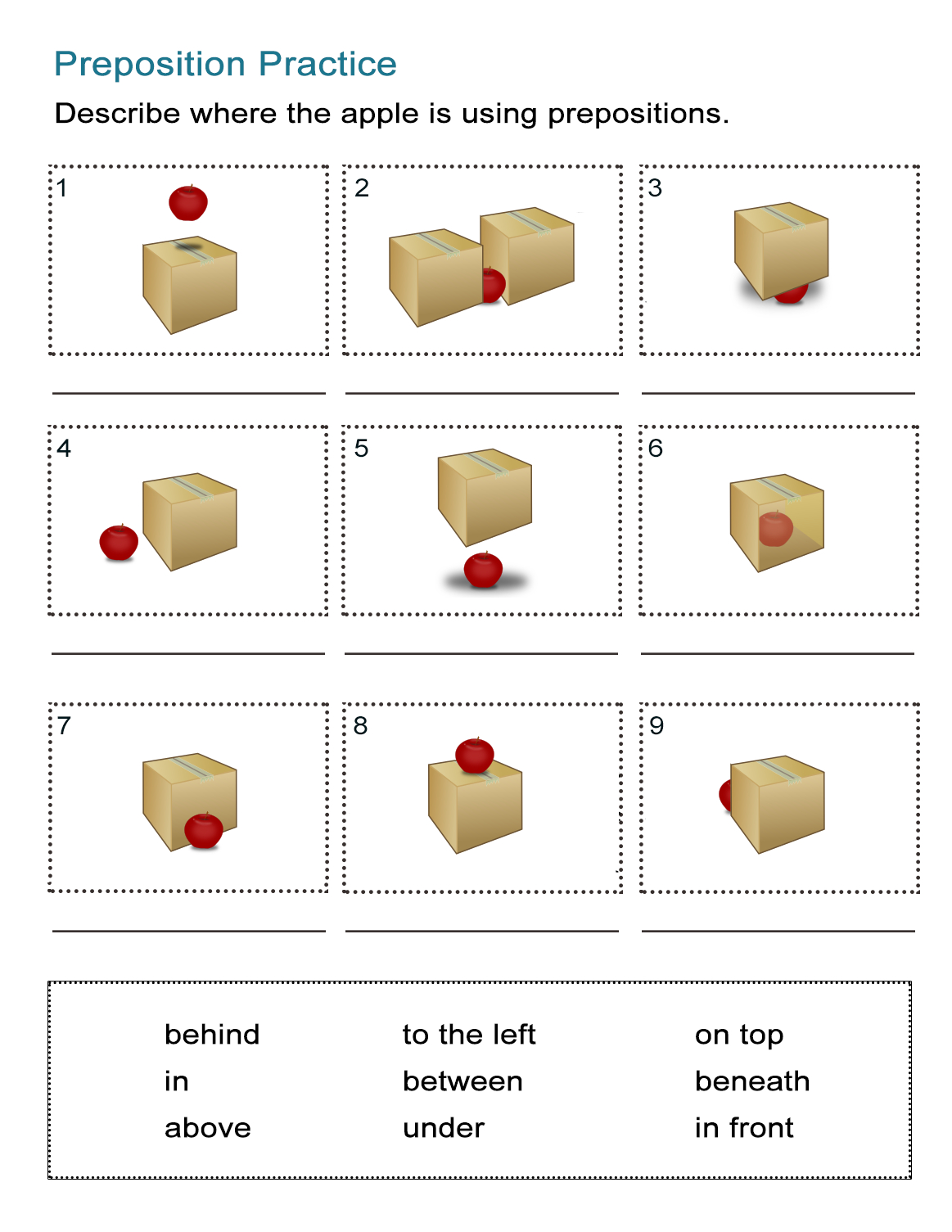 Prepositions Of Location Worksheet: Where Is The Apple? - All Esl | Free Printable Worksheets For Prepositions